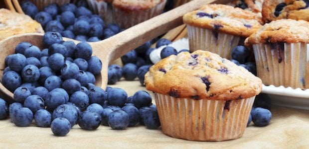 Whole-Wheat Blueberry Protein Muffins
