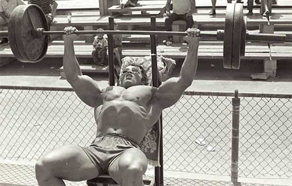 Working out at Muscle Beach
