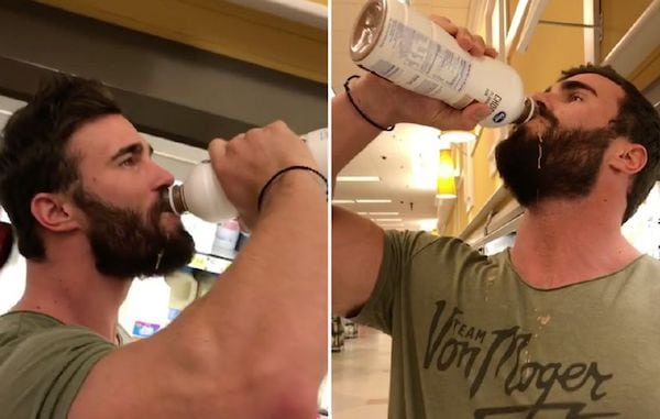 Calum Von Moger Drinking Chocolate Milk