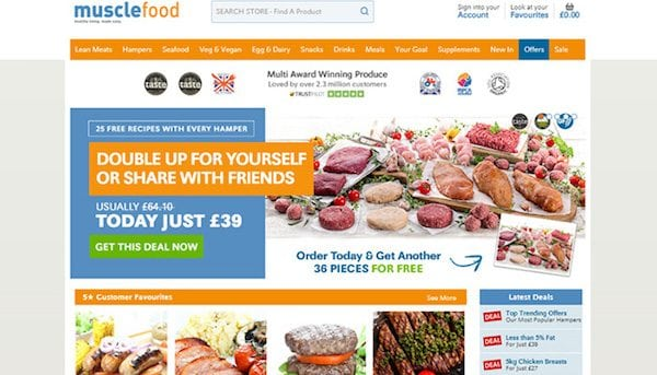 MuscleFood website